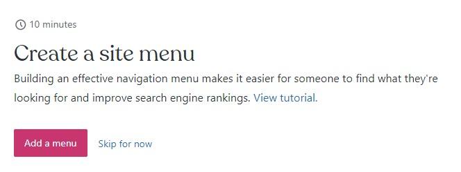 """""""Create a blog menu"""" step WordPress.com"""