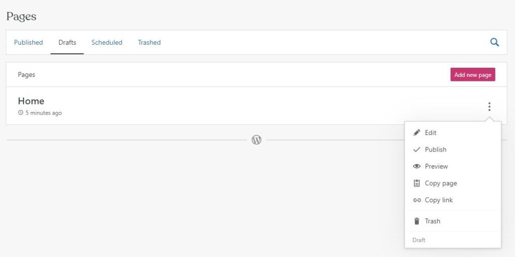 WordPress.com draft pages tab