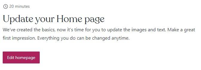 """""""Edit blog homepage"""" step in WordPress.com"""