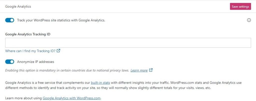 Connect WordPress.com to Google Analytics