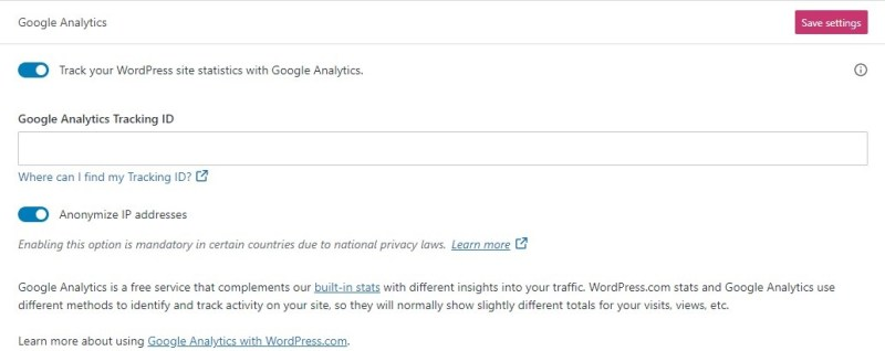Connect WordPress.com to Google Analytics