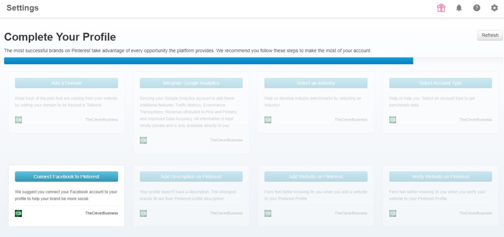 Tailwind Pinterest account setup suggestions