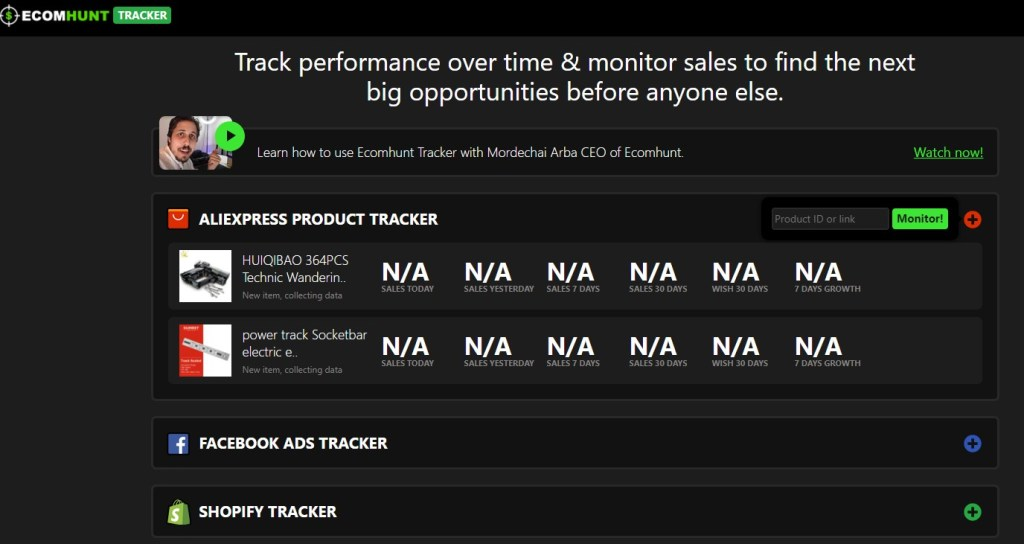 Ecomhunt Tracker
