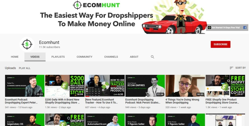 Ecomhunt Youtube channel