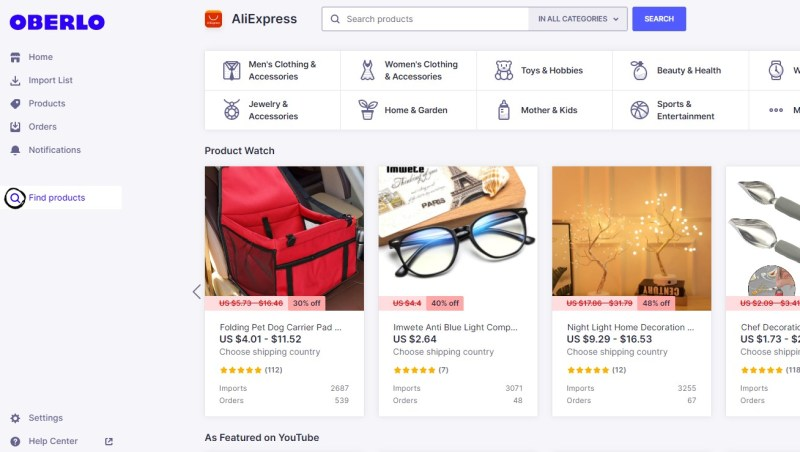 Oberlo Shopify dropshipping app for importing and fulfilling products