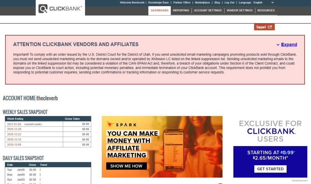 ClickBank account nickname homepage