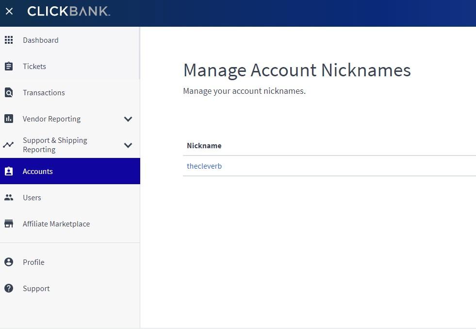 ClickBank account nicknames