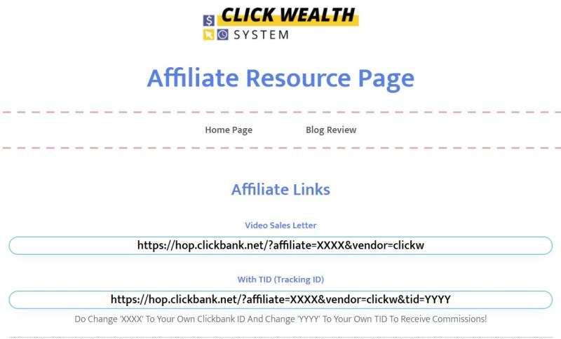 ClickBank affiliate link formats on affiliate tools pages