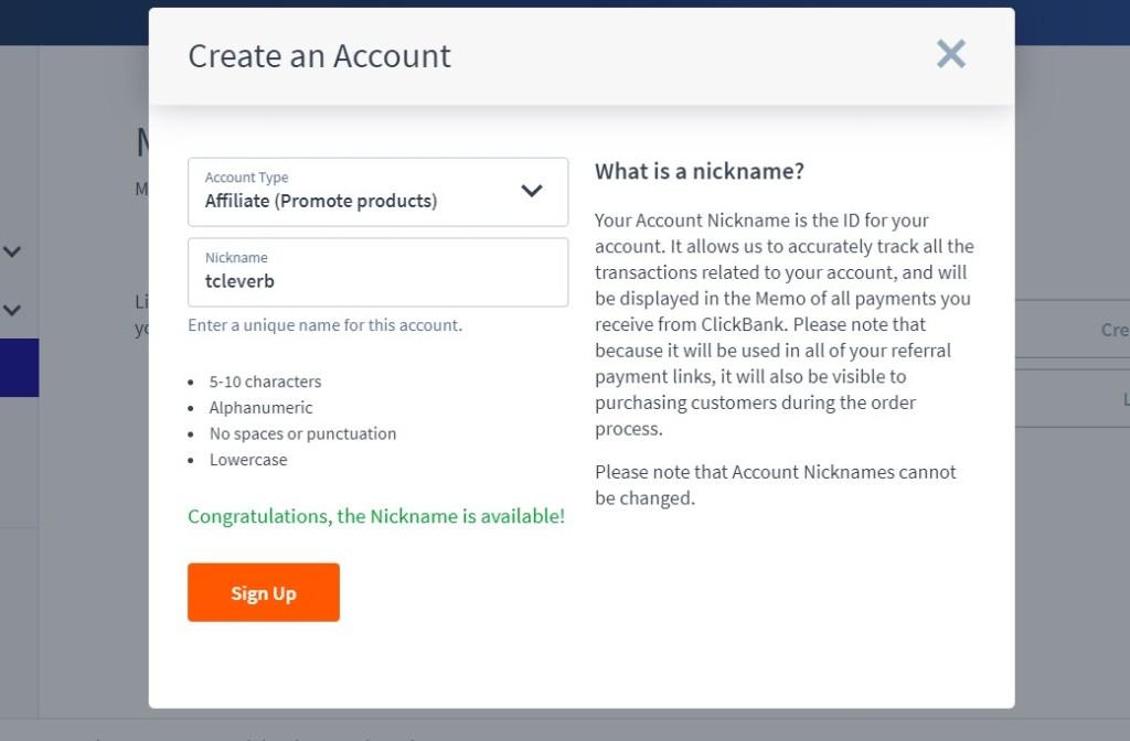 ClickBank nickname creator