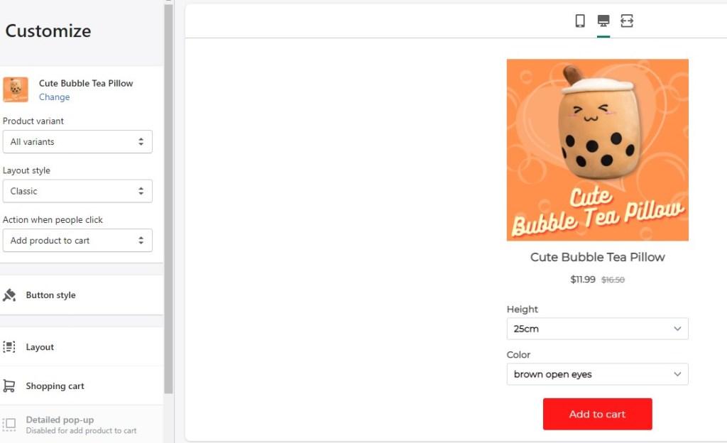 Buy button free Shopify app