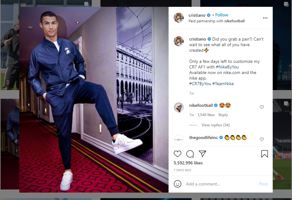 Instagram sponsored post example