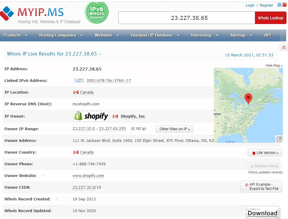 Shopify's IP Adrress information on Myip.ms