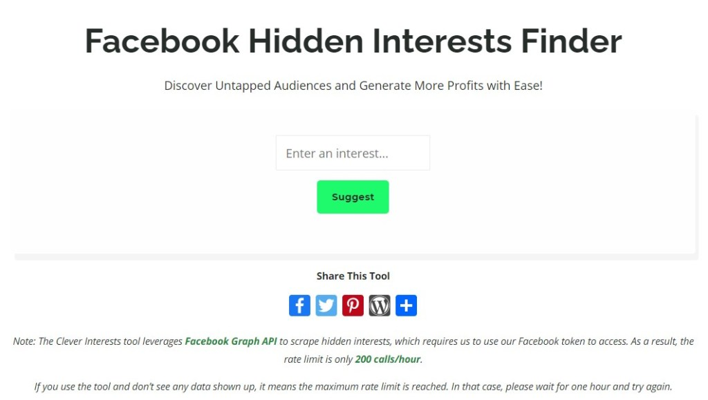 Facebook Hidden Interest Finders