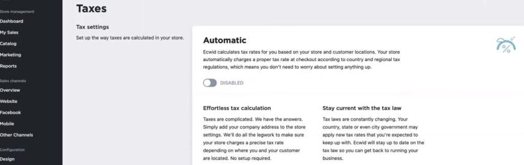 Ecwid taxes