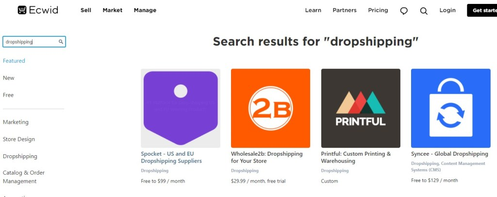 Ecwid dropshipping apps