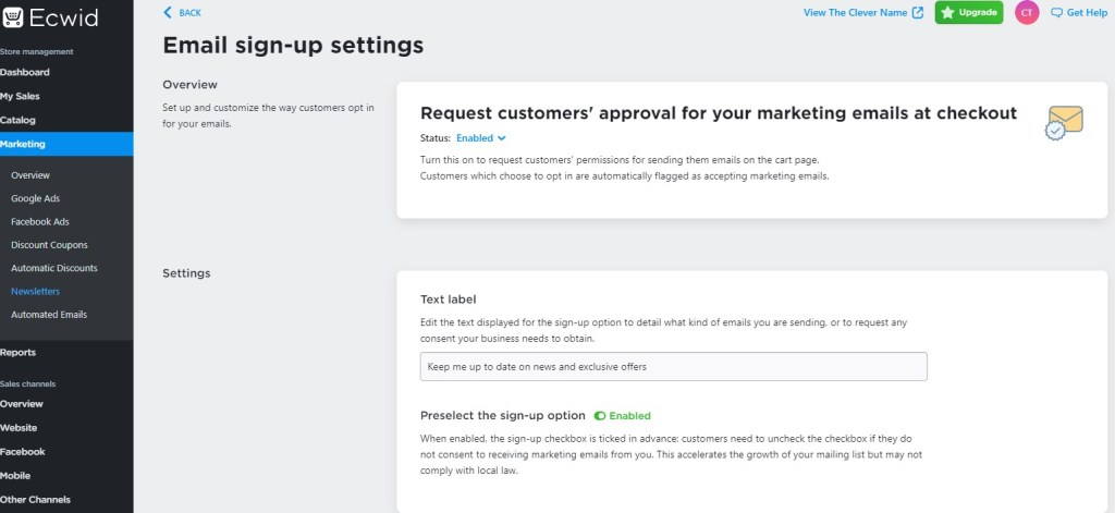 Ecwid email signup options