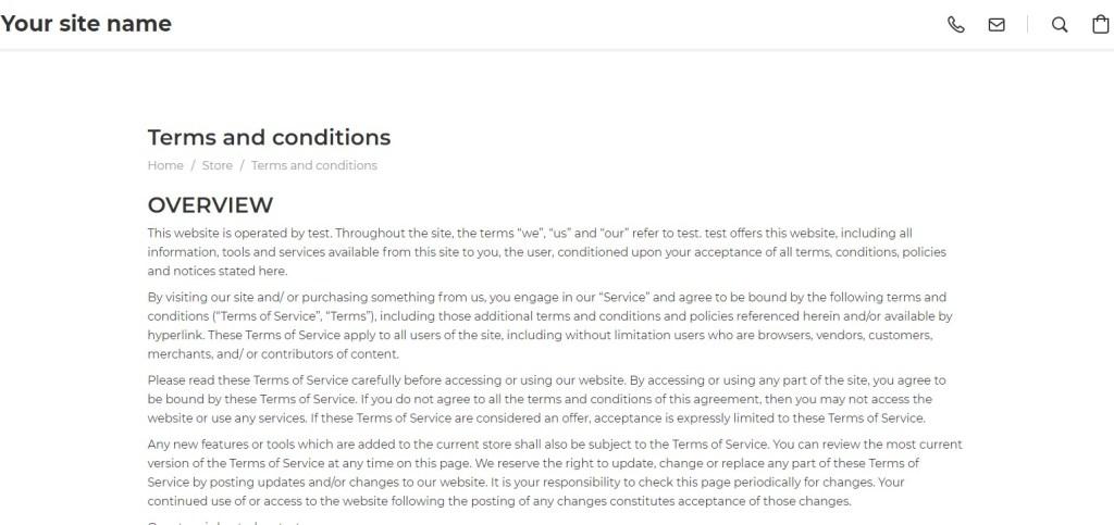 Ecwid legal pages
