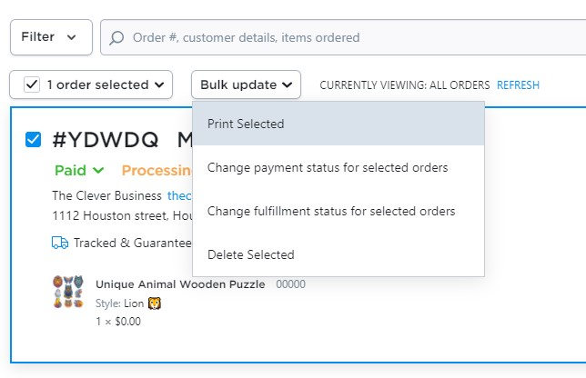Print dropshipping orders in Ecwid