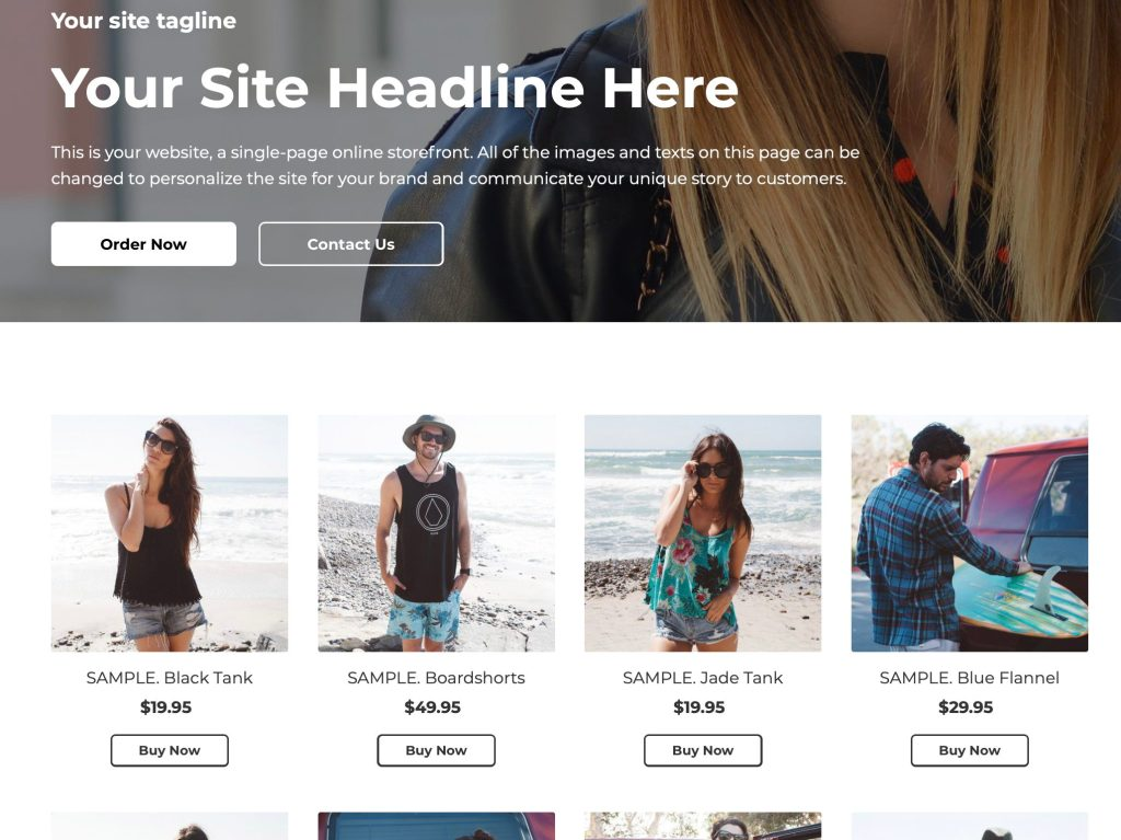 Ecwid store hompage example