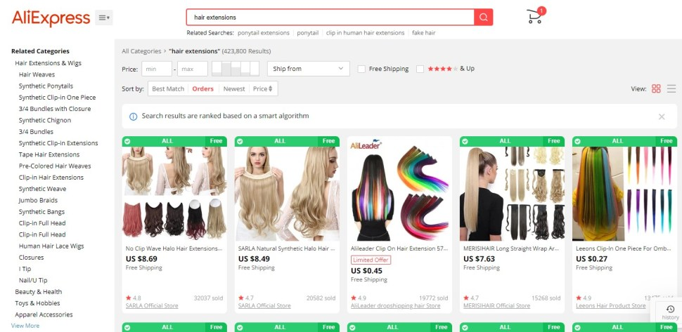 Hair extension dropshipping products on AliExpress