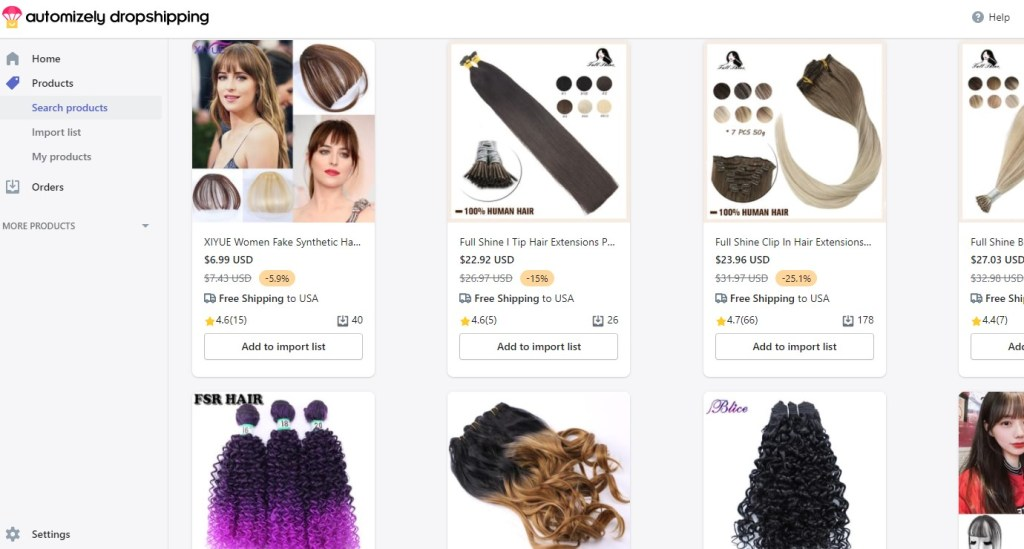 Hair extensions on Automizely Dropshipping