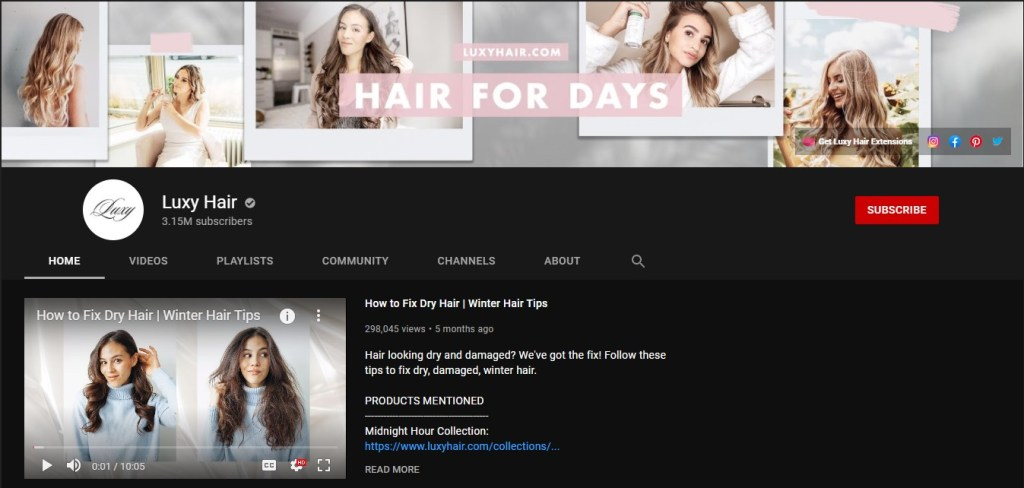 YouTube channel from the Luxy Hair eCommerce & dropshipping store