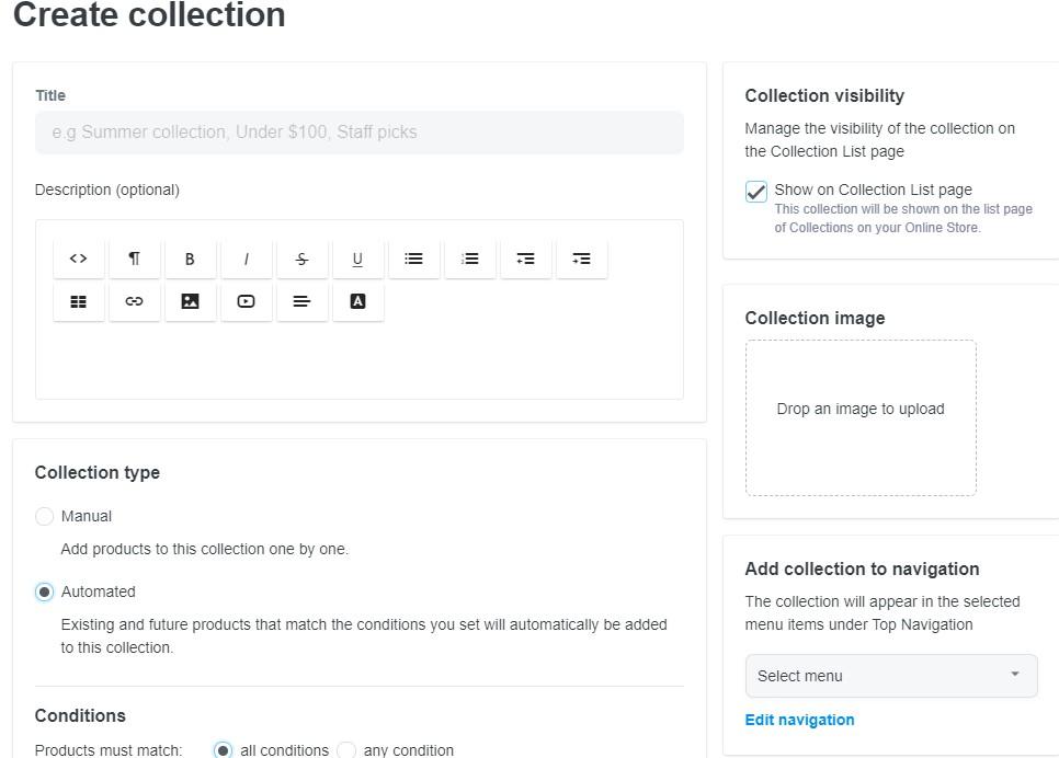 ShopBase collection editor