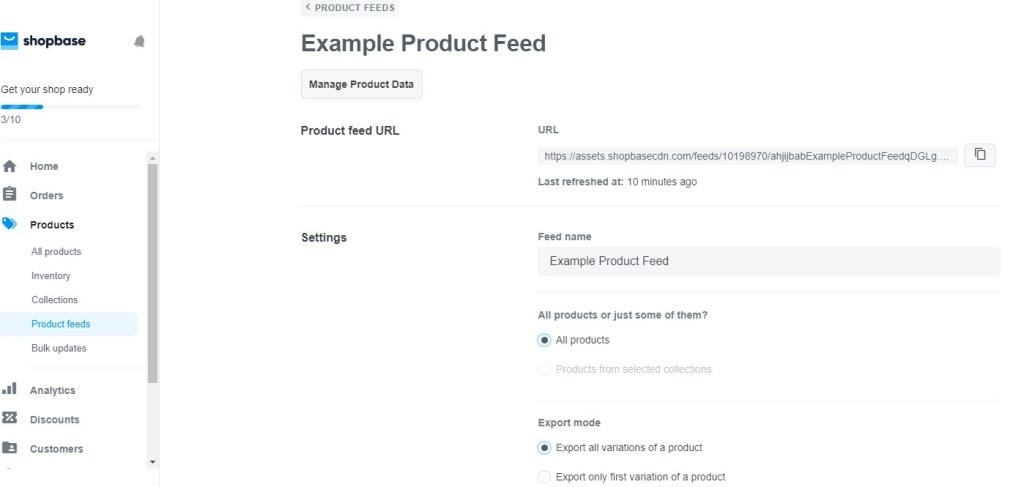 ShopBase product feeds
