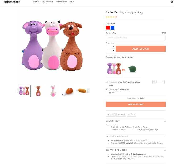 ShopBase store product page
