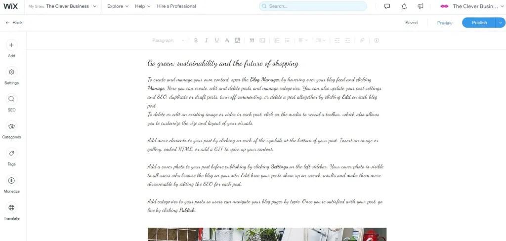 Wix blog post editor