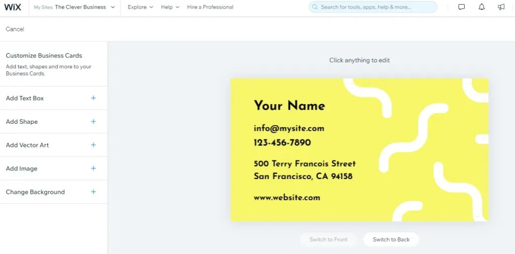 Wix Business Card edtior