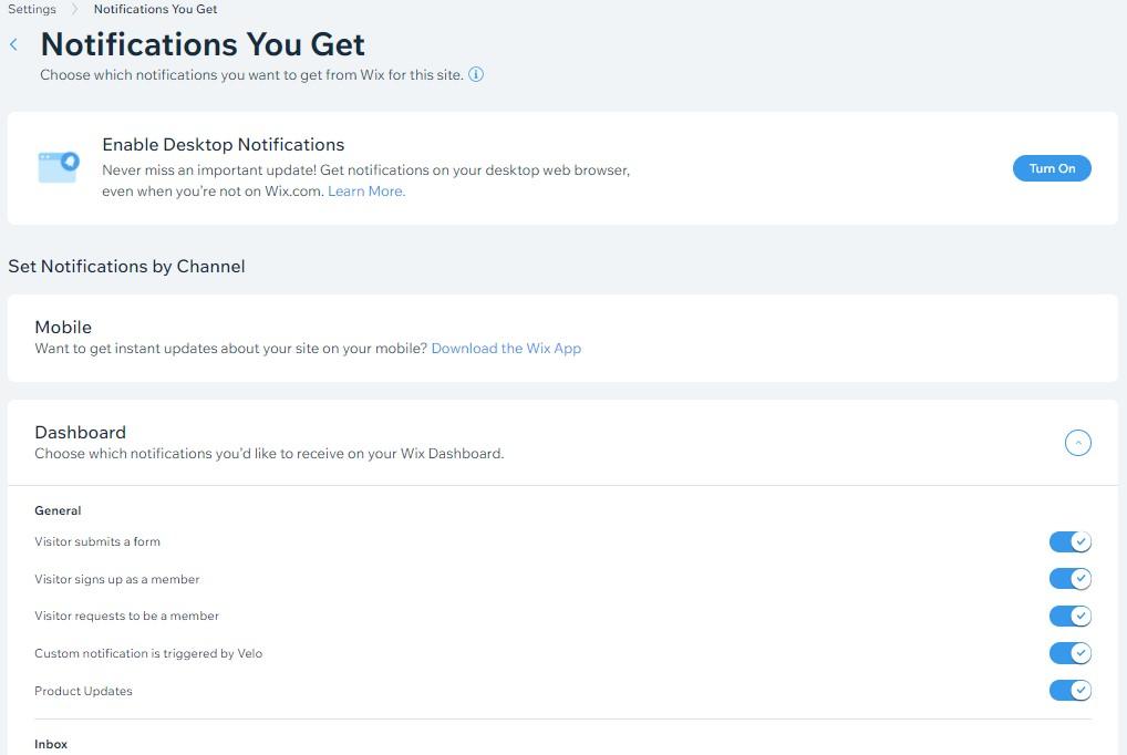 Wix dashboard notifications