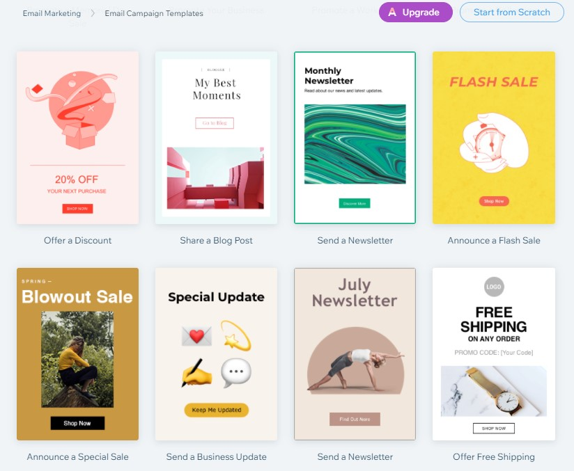 Wix email templates