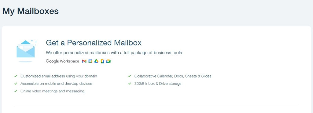 Wix business mailboxes