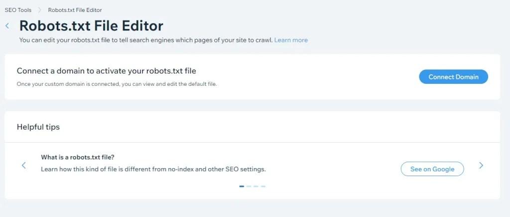 Wix Robots.txt file editor