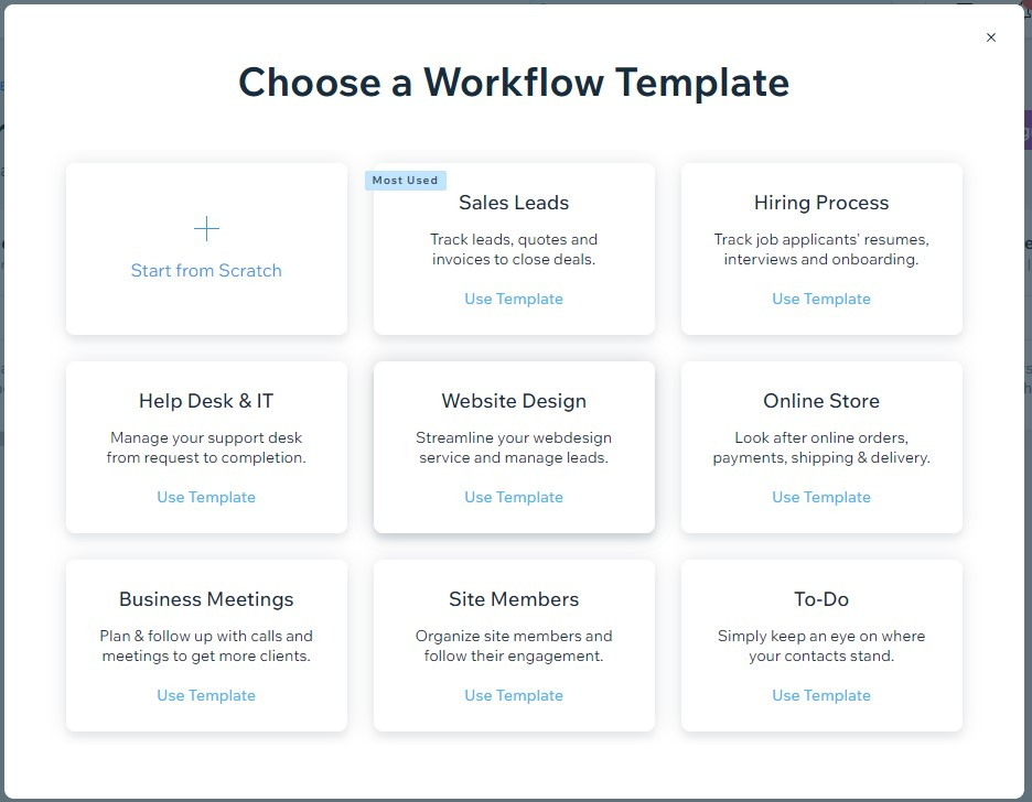 Wix workflow templates