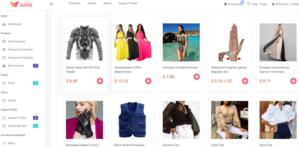 Clothing dropshipping products on Wiio