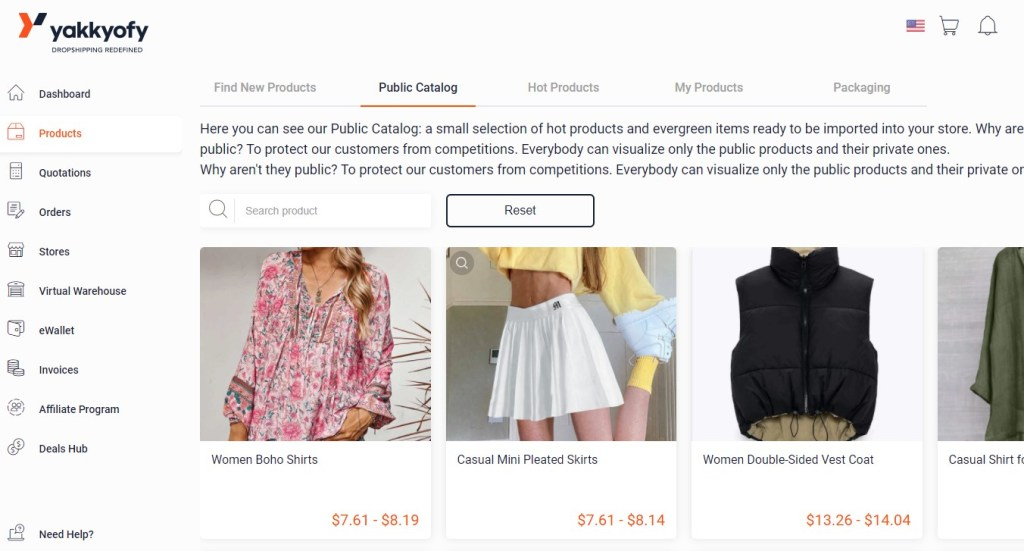 Clothing dropshipping products on Yakkyofy