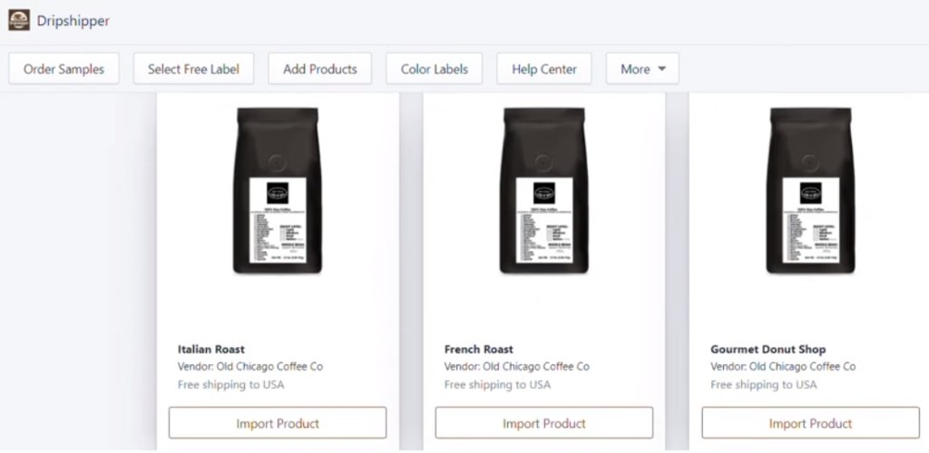Coffee dropshipping products on Dripshipper