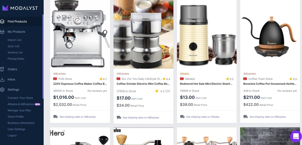 Coffee dropshipping products on Modalyst