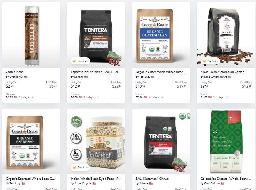 Coffee dropshipping products on Spocket