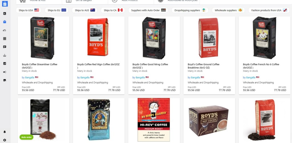 Coffee dropshipping products on Syncee