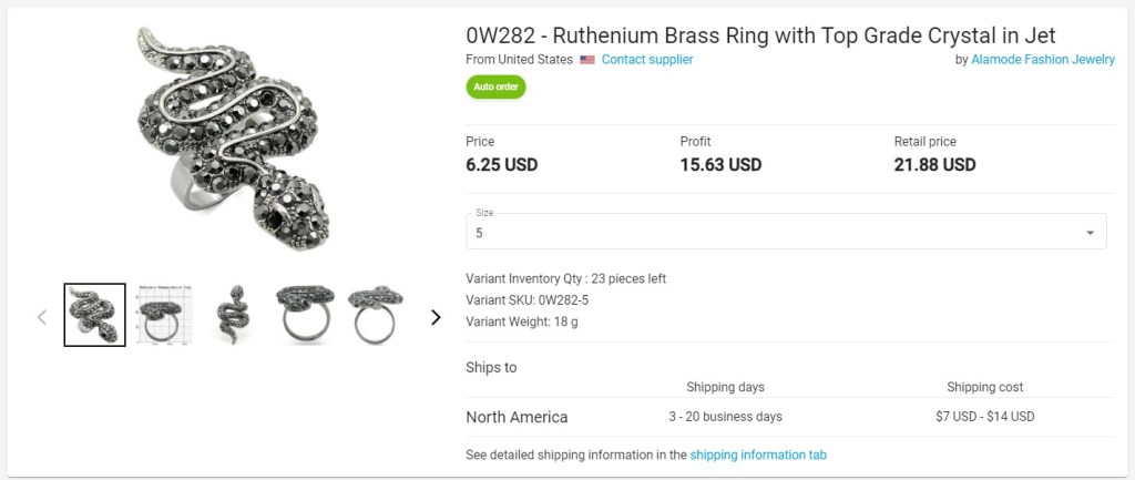Creative jewelry dropshipping product example