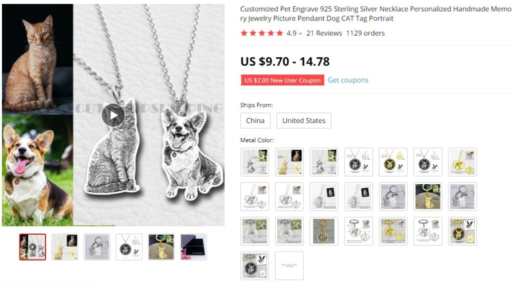Personalized jewelry dropshipping product