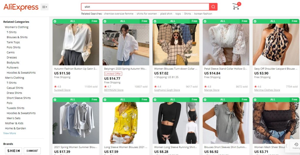 Clothing dropshipping products on AliExpress