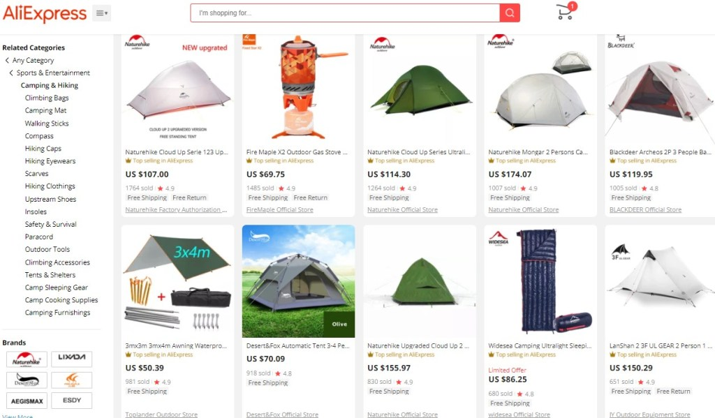Example high-ticket dropshipping products in the camping & hiking niche
