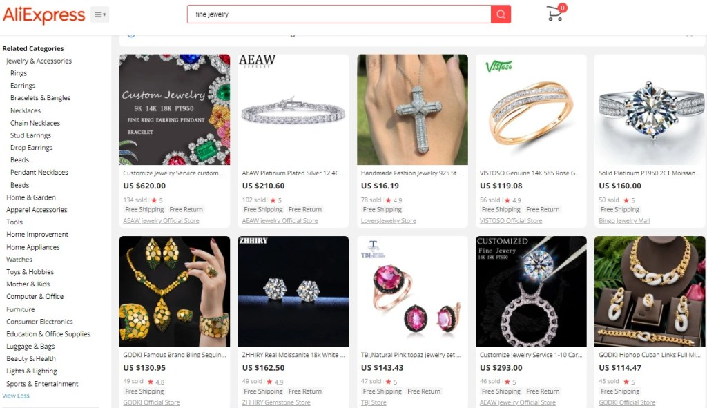 Example high-ticket dropshipping products in the fine jewelry niche