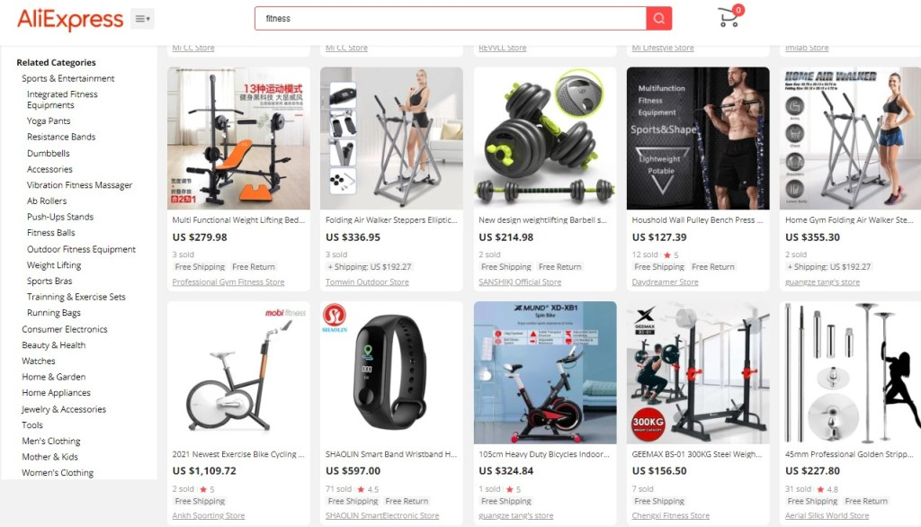 Example high-ticket dropshipping products in the fitness equipment niche