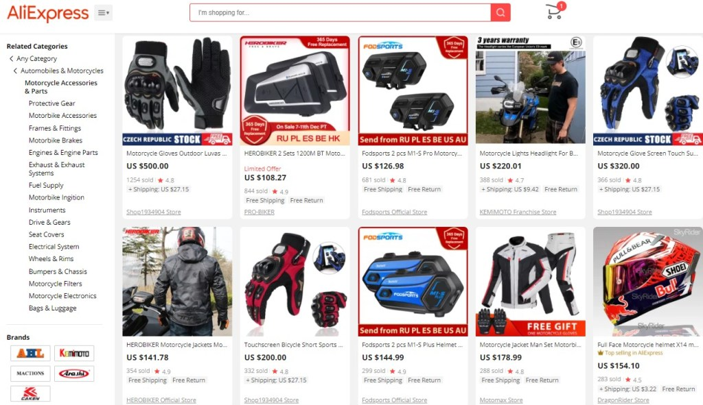Example high-ticket dropshipping products in the motocycle accessories niche