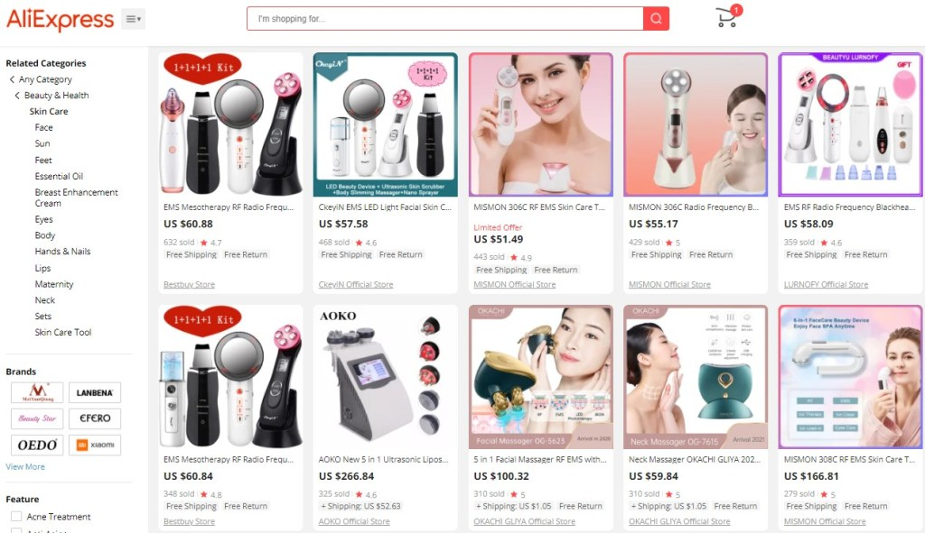 Example high-ticket dropshipping products in the skincare niche